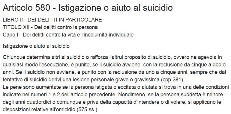 art 580 cp istigazione suicidio
