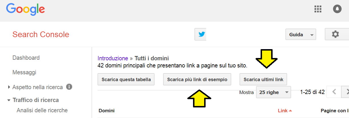 search console ultimi link